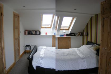 New light, bright bedroom in the attic